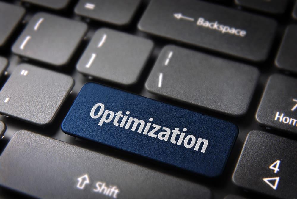 Tastatur mit Optimization Wort auf Tatstatur